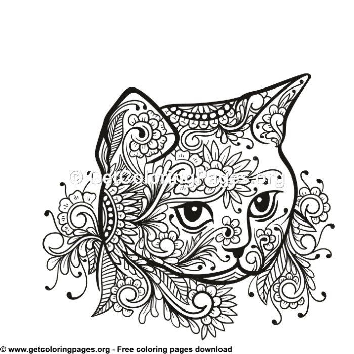 Cat Head Tribal Zentangle Style Coloring Pages