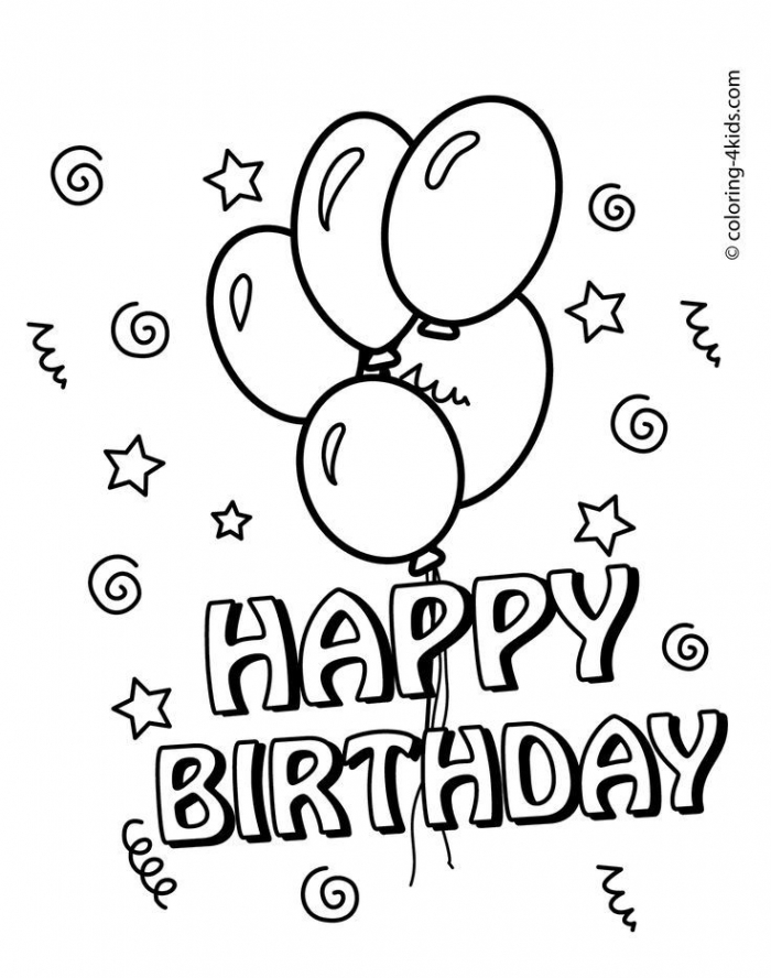 Free Printable Happy Birthday Coloring Pages With Balloons For