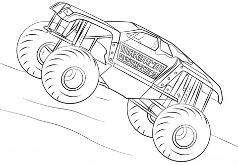 Maximum Destruction Monster Truck Coloring Page