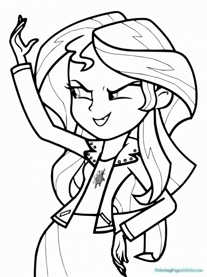 Sunset Shimmer Coloring Page In