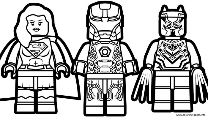 Print Lego Iron Man Supergirl Black Panther Coloring Pages