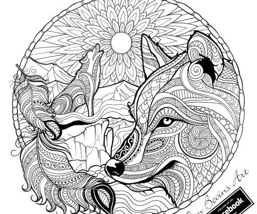 Easy Wolf Mandala Coloring Pages  Best Wolf Coloring Pages For