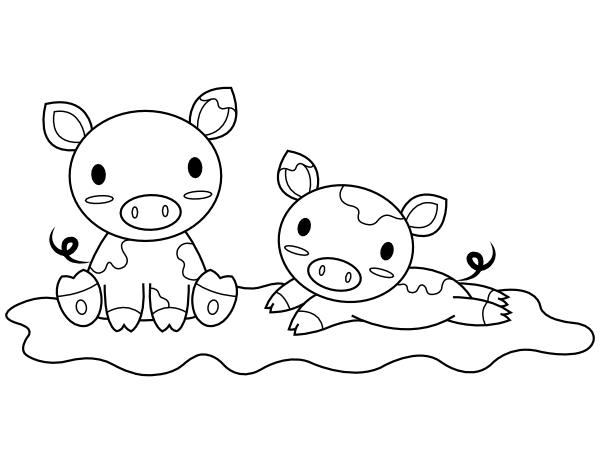 Printable Baby Pigs Coloring Page