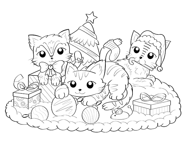 Printable Christmas Cat Coloring Page