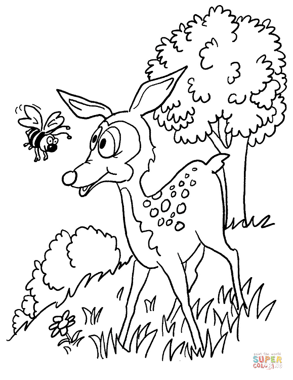 A Fawn And A Bee Coloring Page