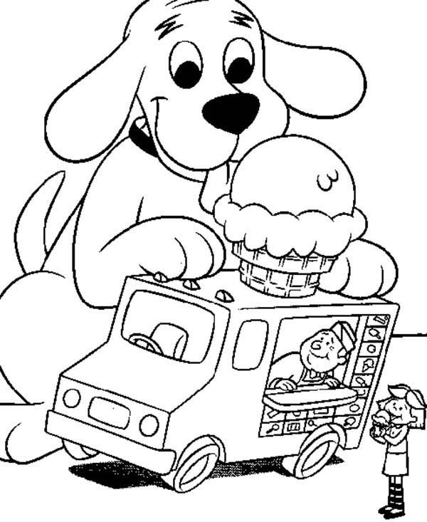Clifford The Big Red Dog Like Ice Crean On Top Of Car Coloring