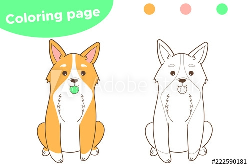 Coloring Page For Children Welsh Corgi Dog With Ball Vector