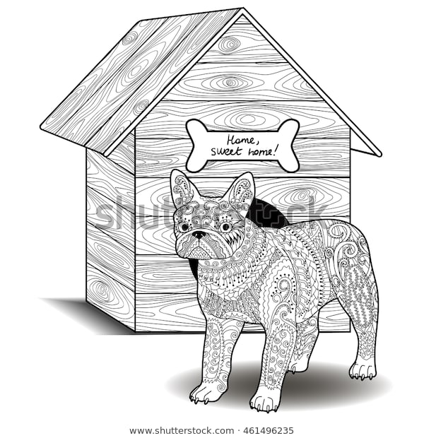 Dog Standing Front Doghouse Adult Antistress Stock Vector Royalty
