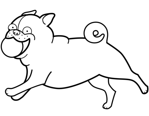 Funny Pug Playing Ball Coloring Page