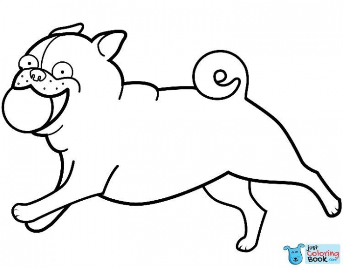 Funny Pug Playing Ball Coloring Page Free Printable Coloring Pages