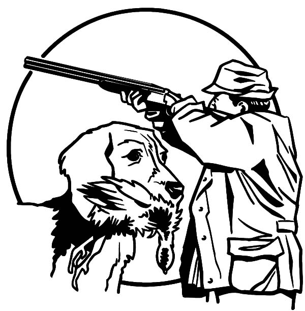 Hunting With Trained Dog Coloring Pages  Coloring Sky