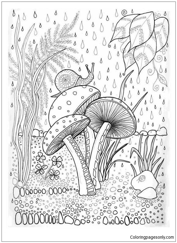 Mushroom And Snail In The Forest Coloring Page