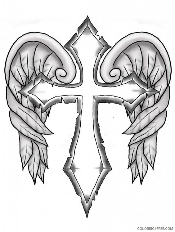 Cross Coloring Pages With Wings Coloringfree