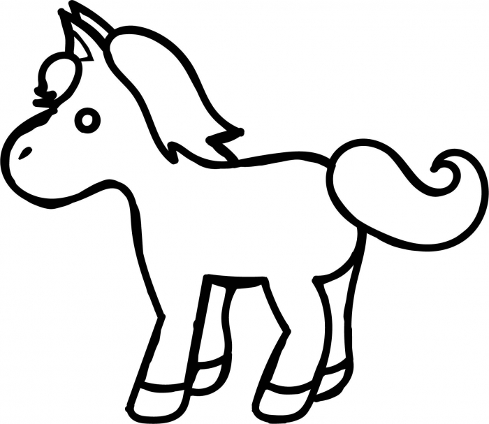 Awesome Small Cartoon Horse Coloring Page