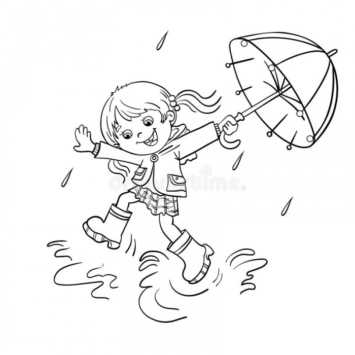 Coloring Page Outline Of A Girl Jumping In The Rain Stock Vector