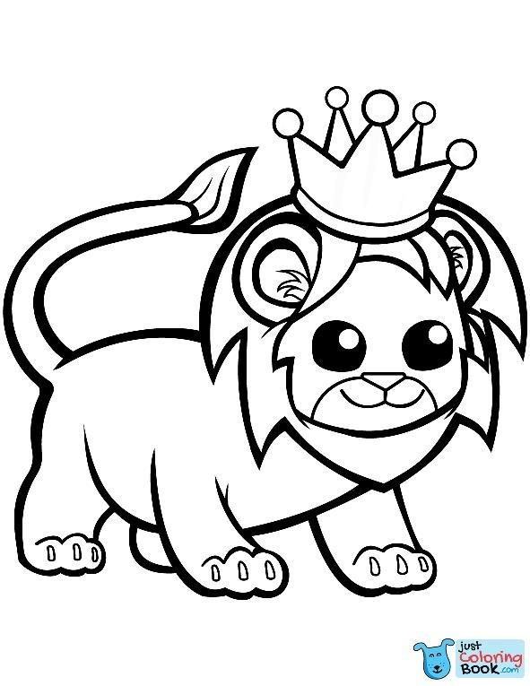 Funny Lion In A Crown Coloring Page Free Printable With Funny Lion