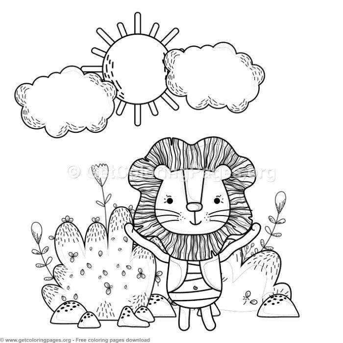 Happy Lion In The Forest Coloring Pages Free Instant Download