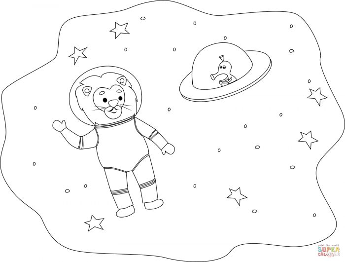 Lion In Space Coloring Page