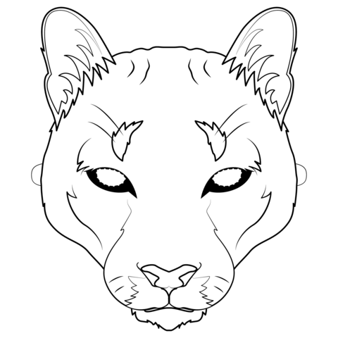 Mountain Lion Mask Coloring Page