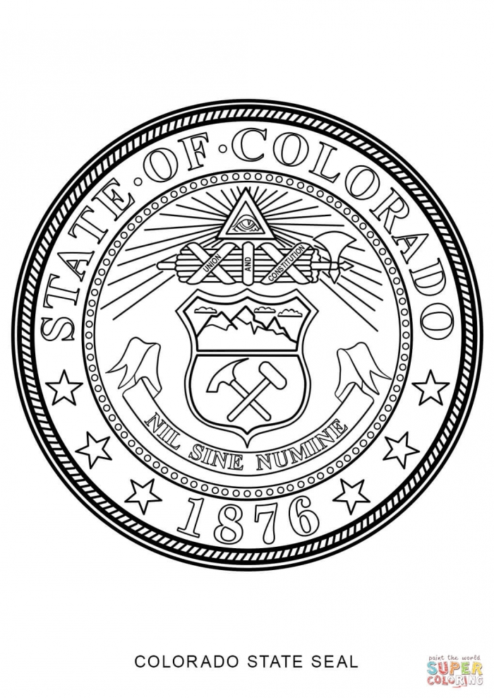 Colorado State Seal Coloring Page