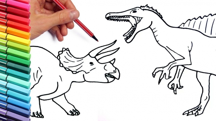 Drawing And Coloring Spinosaur Vs Triceratops How To Draw Dinosaur