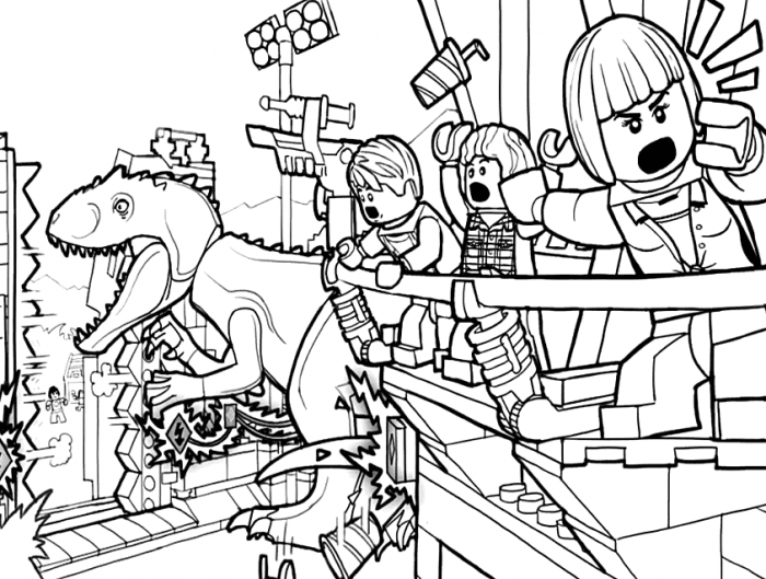 Lego Jurassic World Coloring Page  Coloringrocks