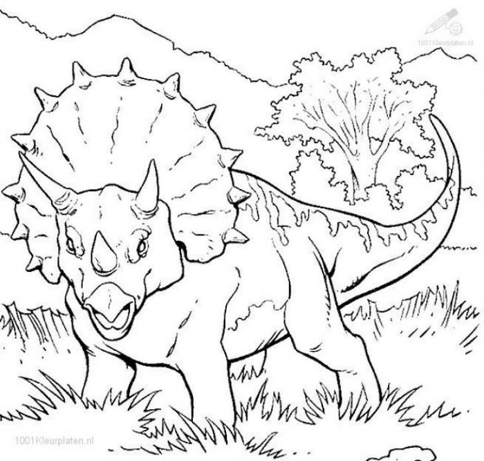 The Threatening Triceratops From Jurassic Park Coloring Page