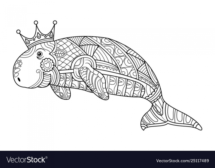 Dugong Coloring Book Page For Adult Royalty Free Vector