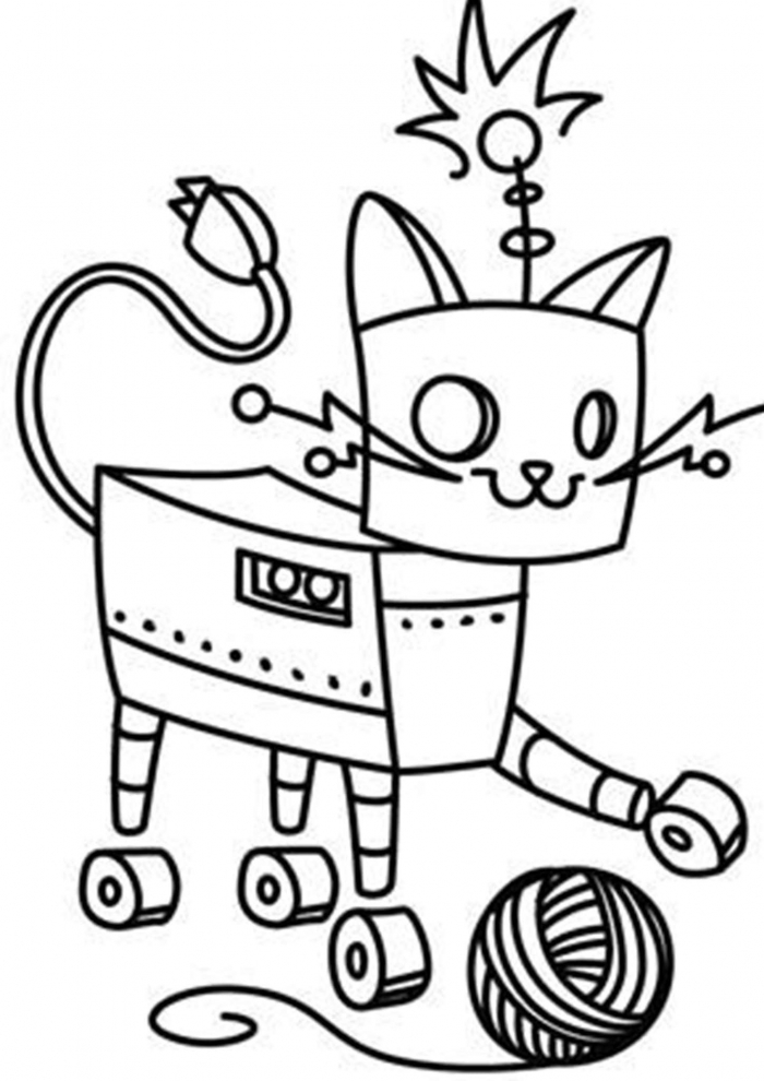 Free   Easy To Print Robot Coloring Pages