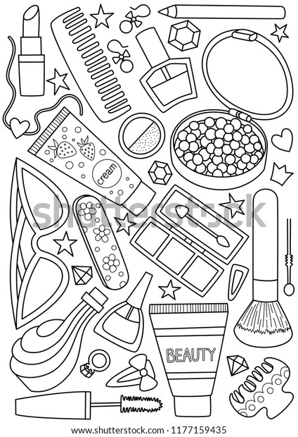 Antistress Doodle Coloring Book Page Cosmetic Stock Vector