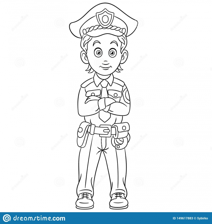 Coloring Page With Policeman Police Man Officer Stock Vector