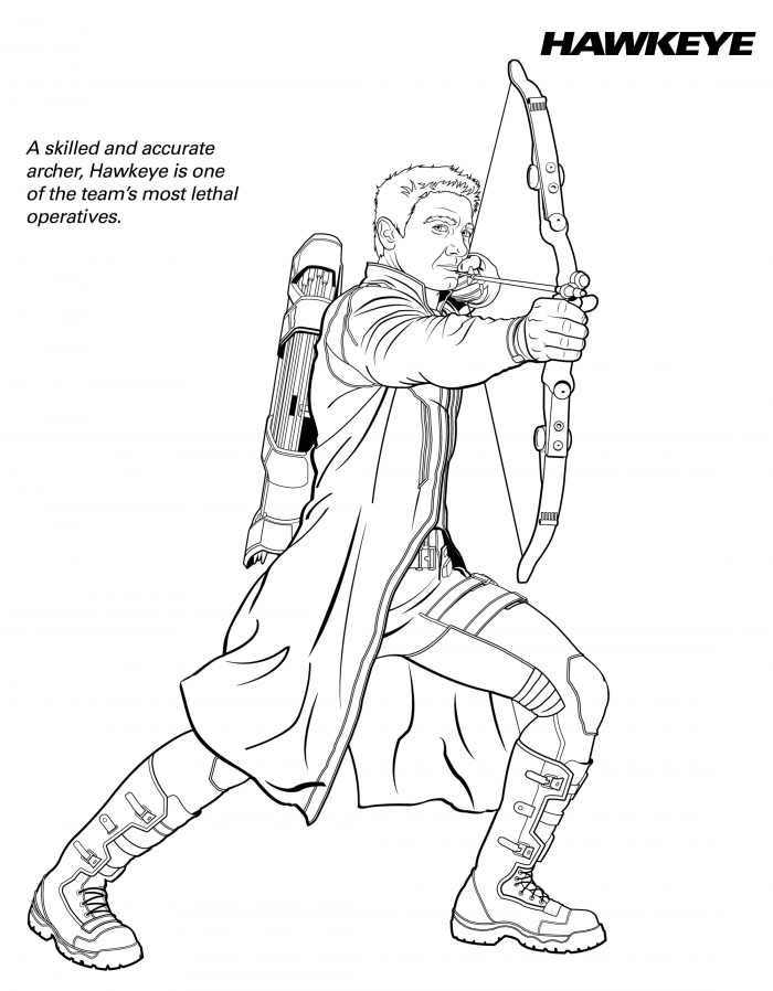 Hawkeye Coloring Pages Marvel