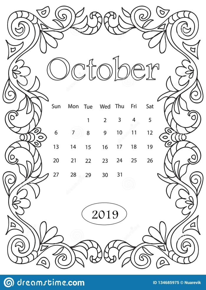 Adult Coloring Page With Monthly Calendar Of  Year Isolated On